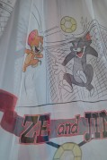 Тюль Детский Том и Джери (серый)