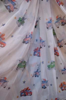 Тюль Детский Тачки 4 (белый)