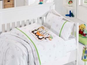Детское постельное бельё Penguins Yesil First Choice Бамбук в кроватку