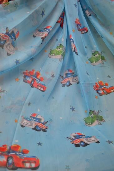 Тюль детский Тачки 4 (голубой)