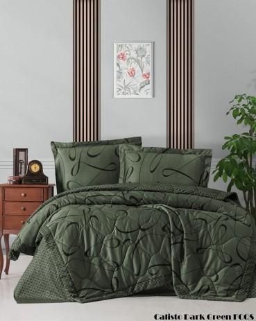 """Летний постельный набор Softness Quilt Set """"Calisto Dark Green"""""""
