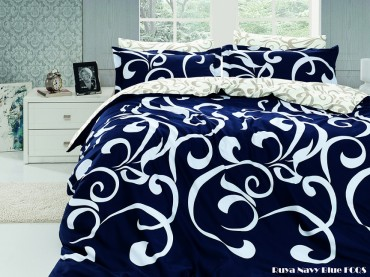 """Летний постельный набор Softness Quilt Set """"Ruya Navy Blue"""""""