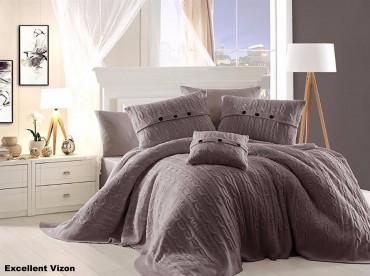 Постельное бельё + Покрывало First Choice Nirvana Excellent Vizon Евро